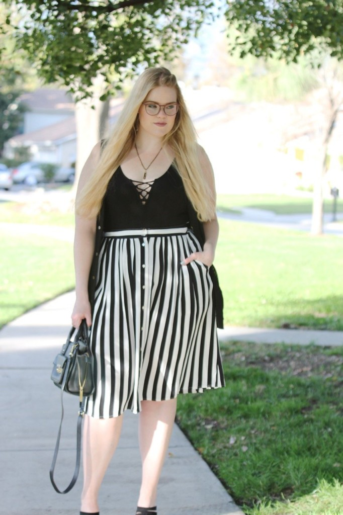 Girls Who Wear Glasses - Bodysuit and Striped Midi Skirt Look