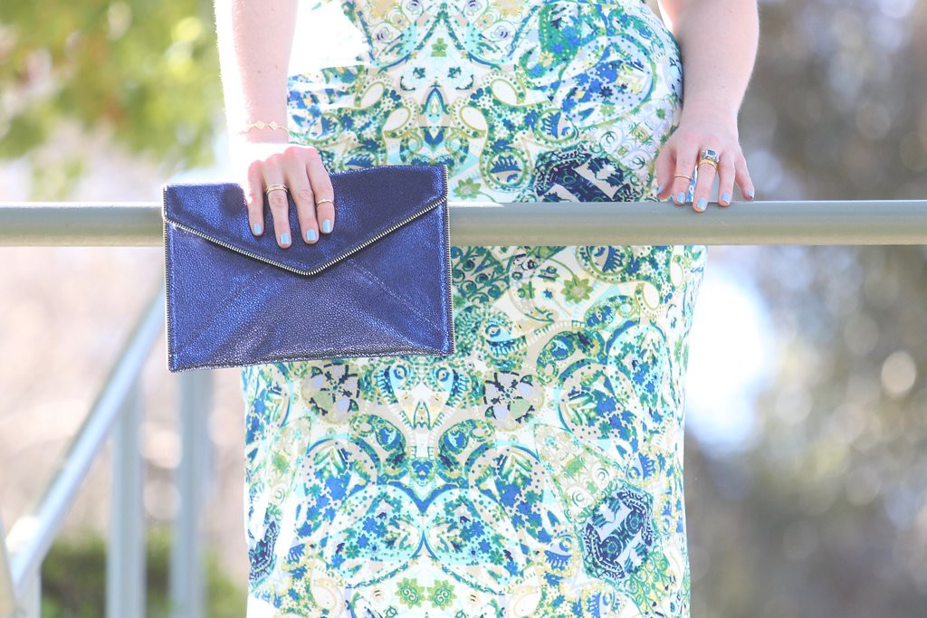 Spring Trends with Maggy London - Rebecca Minkoff metallic clutch