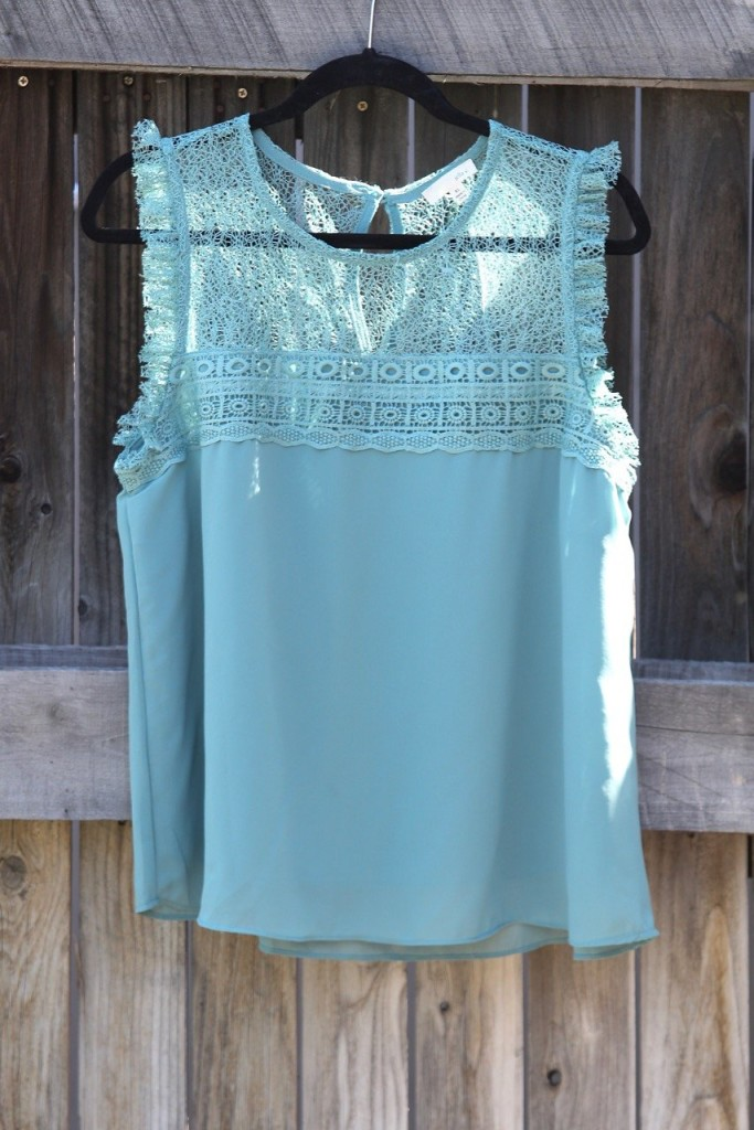 March Stitch Fix - Aqua Lace Blouse