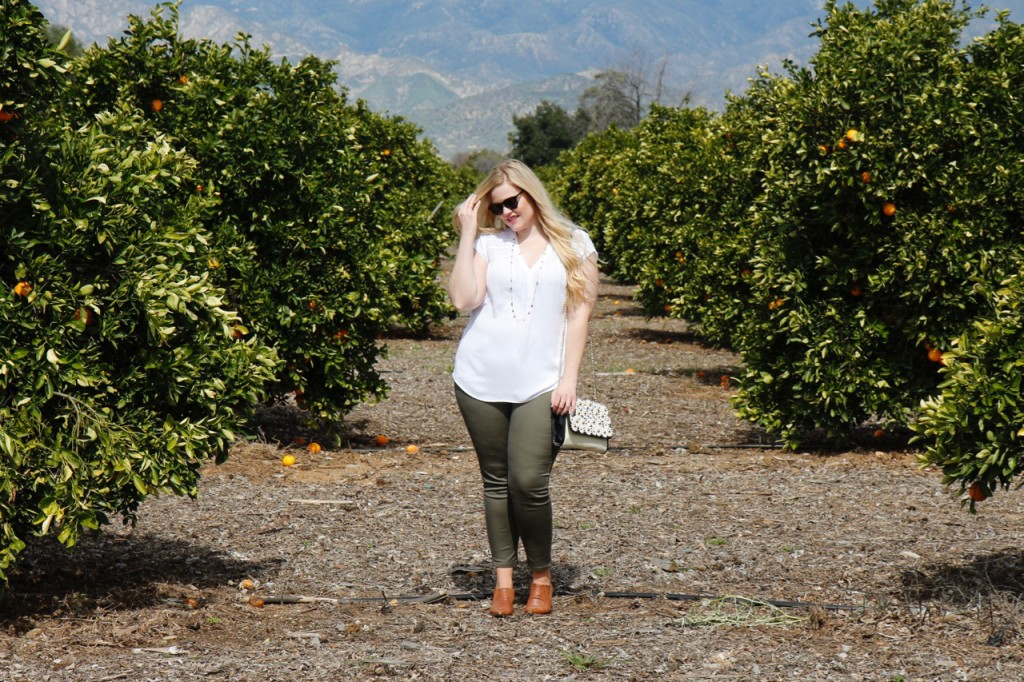 Grove Party - Stitch Fix Olive Pants and White Blouse