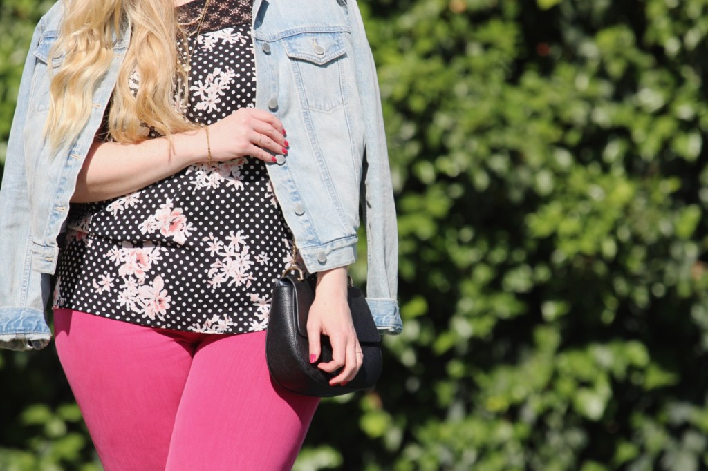 Mixing Denim - Pink Jeans and Gap Jacket