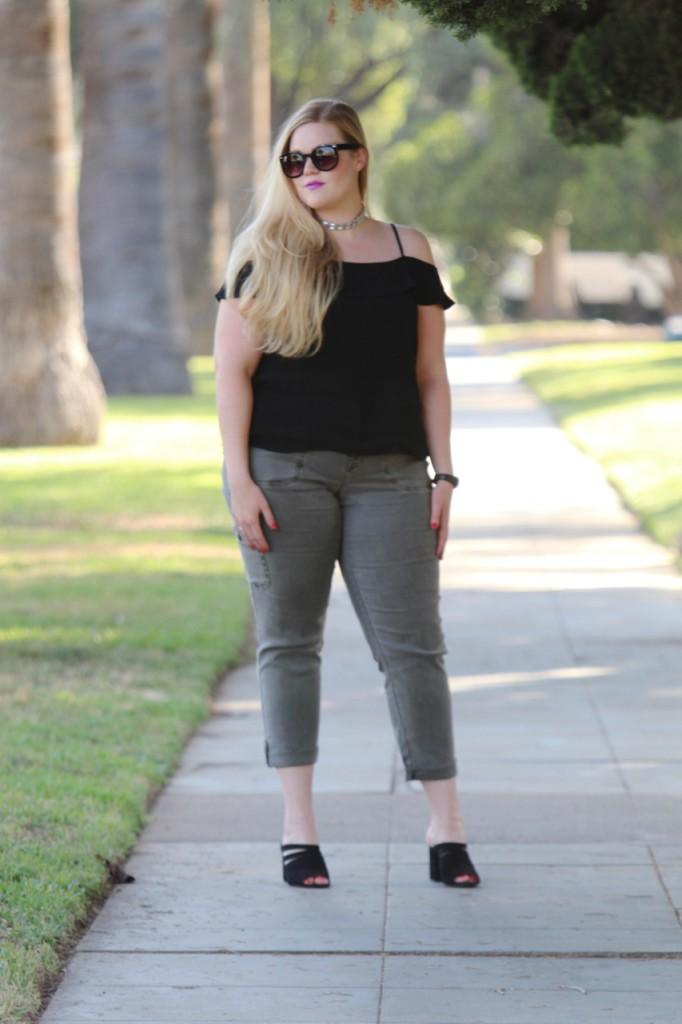 July Stitch Fix Review - Cold Shoulder Top and Cropped Cargo Pants