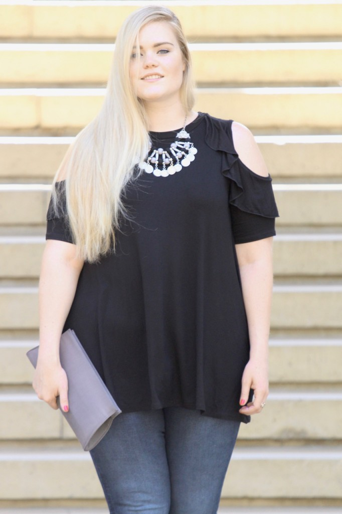 Cold Shoulder Vibes - Open Shoulder Top and Statement Necklace