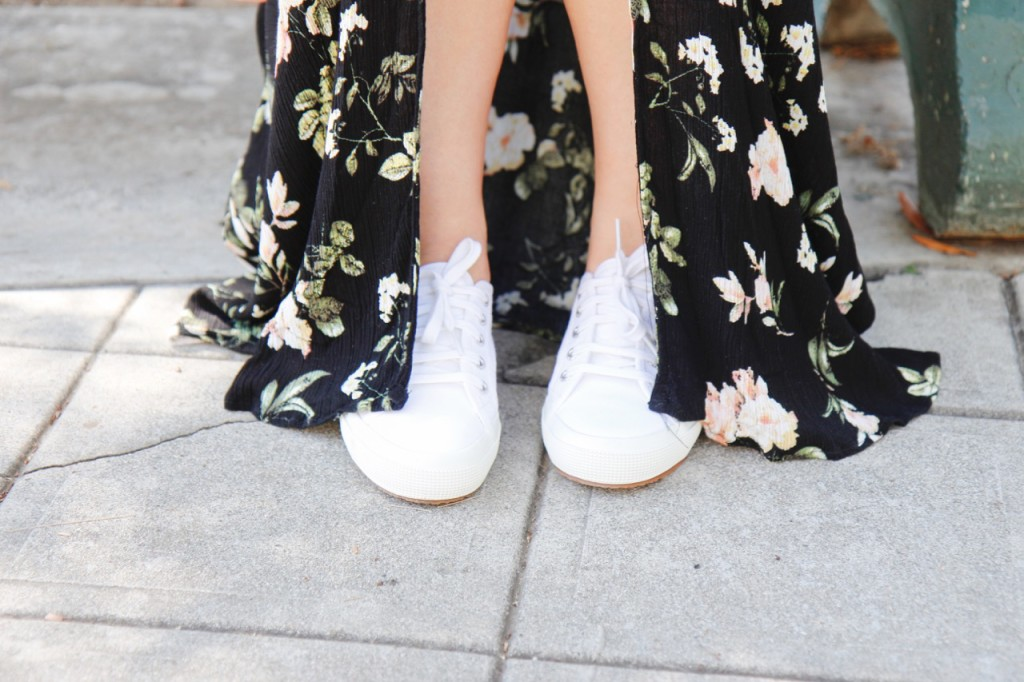 Amazon Floral Slit-Front Dress - Superga White Sneakers