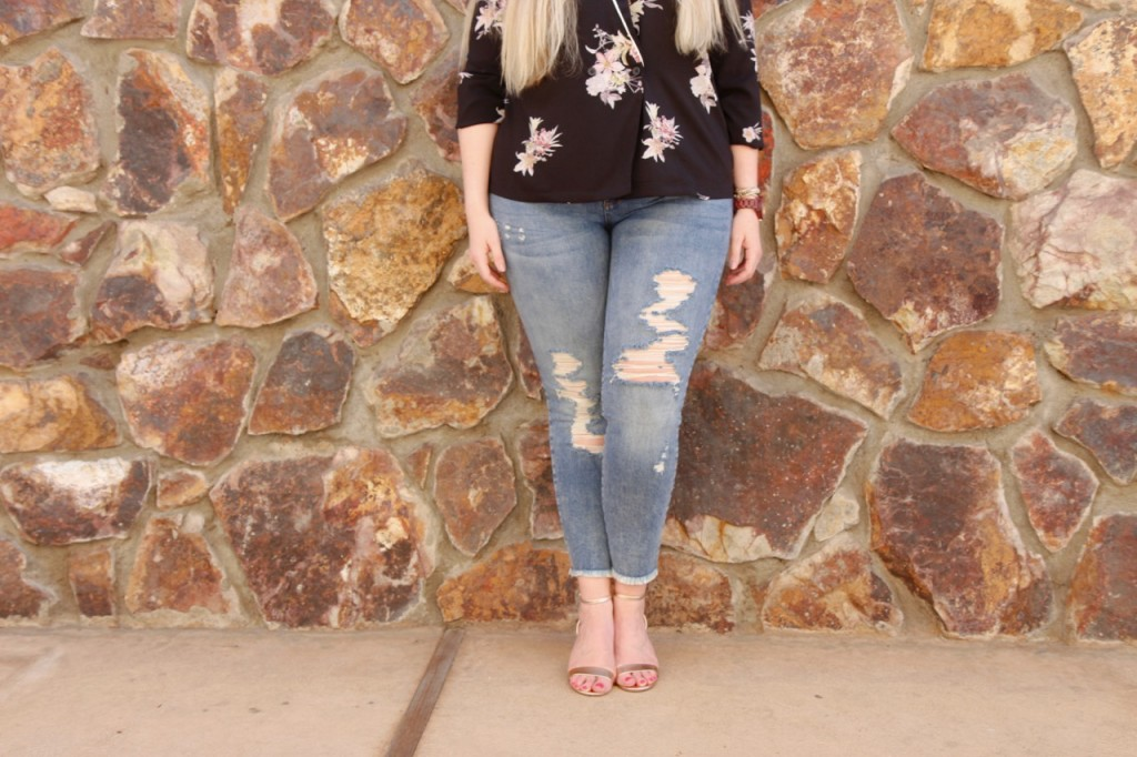 Stitch Fix Distressed Jeans and Rose Gold Sandals
