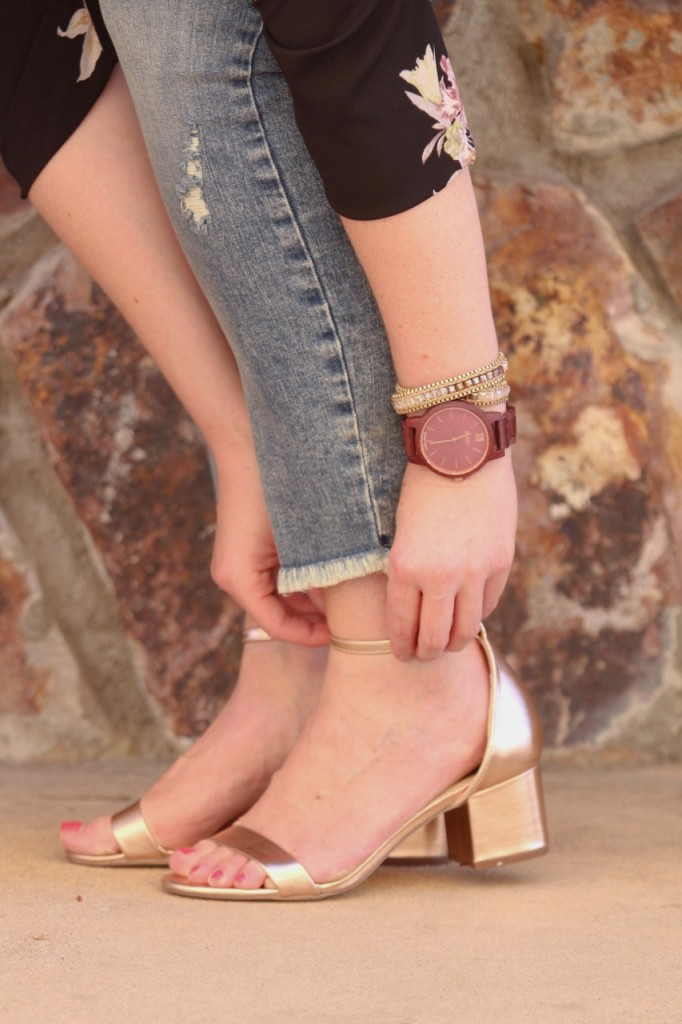 Jord Wood Watch and Just Fab Rose Gold Sandals