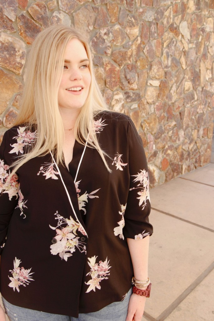 Stitch Fix Dark Floral Wrap Top