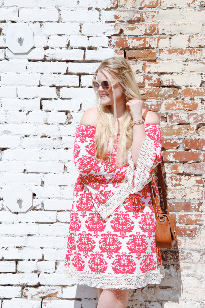 Pink Blush Damask Print Dress
