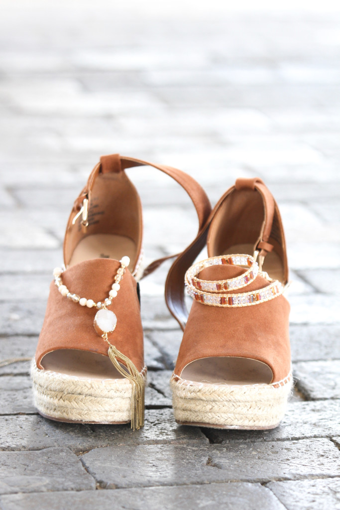 JustFab Macey Platform Wedges and Boho Jewelry