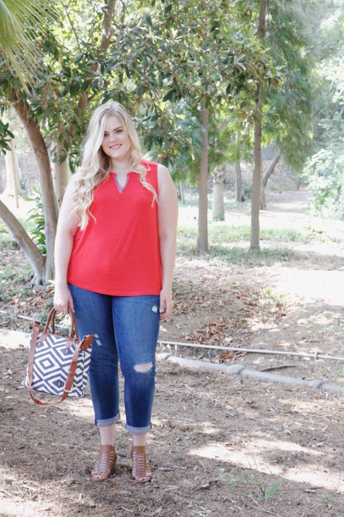 August Stitch Fix Review - Split-Neck Top and Cropped Jeans