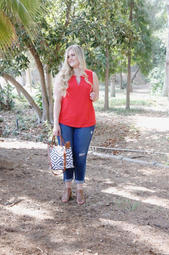 August Stitch Fix Review - Red top and cropped denim