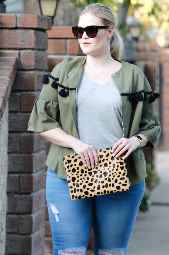 Raen Sunglasses, Nordstrom Leopard Clutch, Olive Tassel Jacket