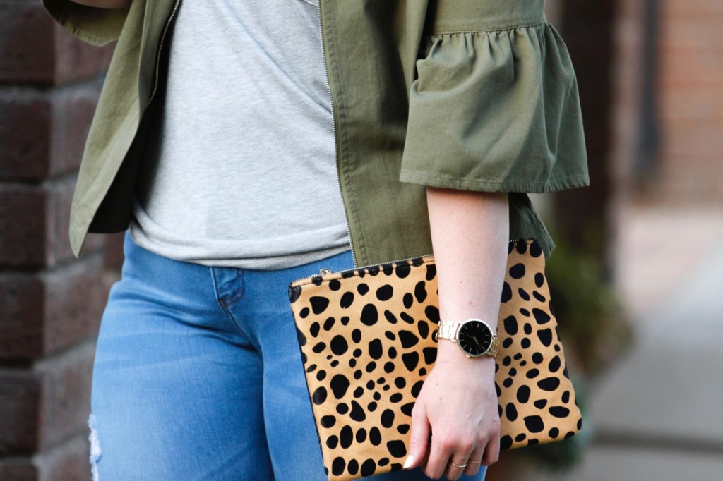 Nordstrom Leopard Clutch and Boyfriend Watch