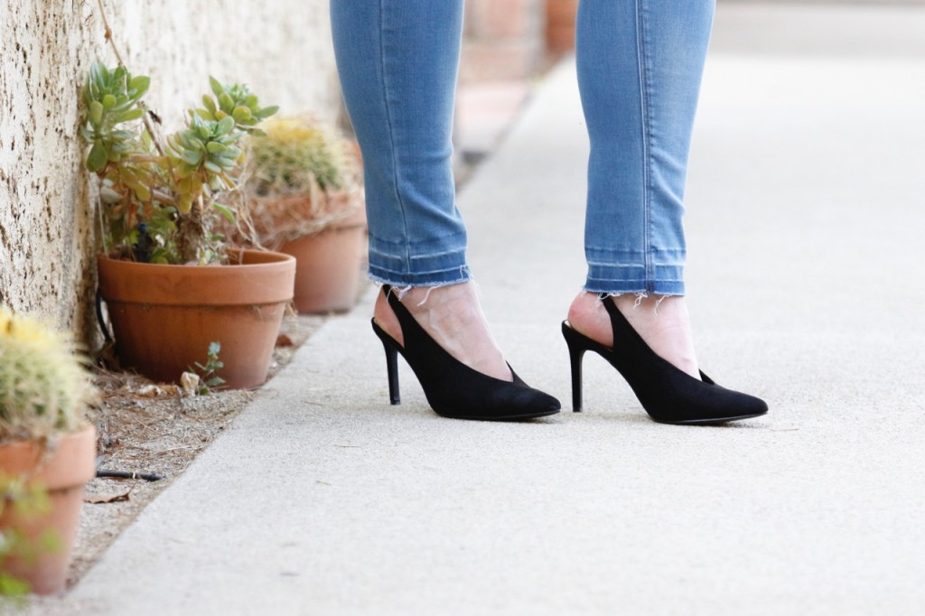 Frayed Jeans and Slingback Heels