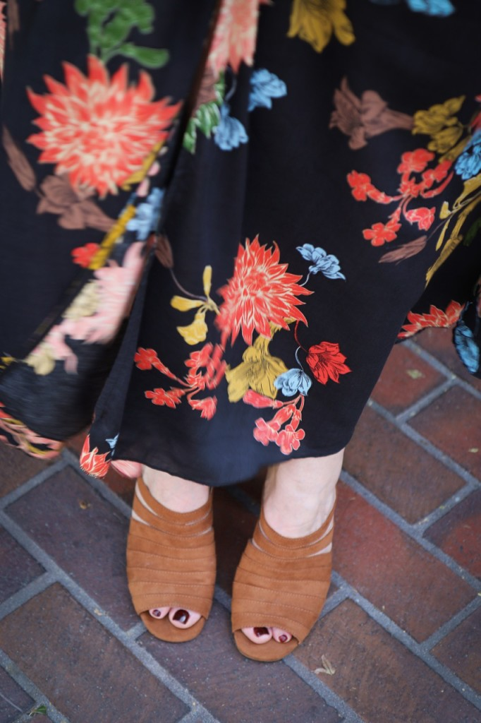 Floral Maxi Dress and Strappy Heeled Mules