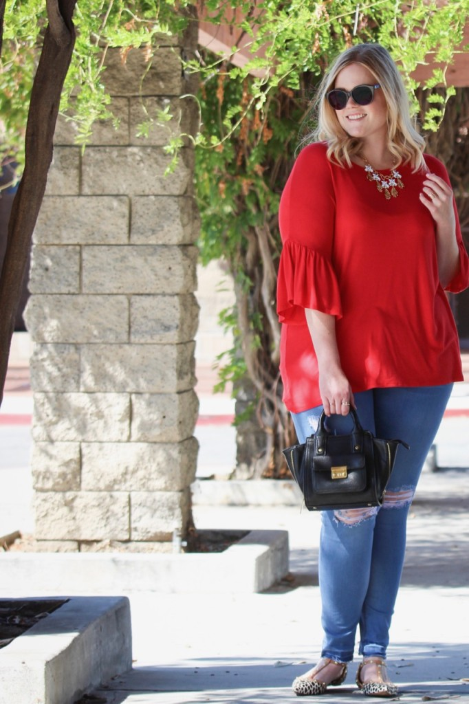 Red Bell Sleeve Top and Distressed Jeans