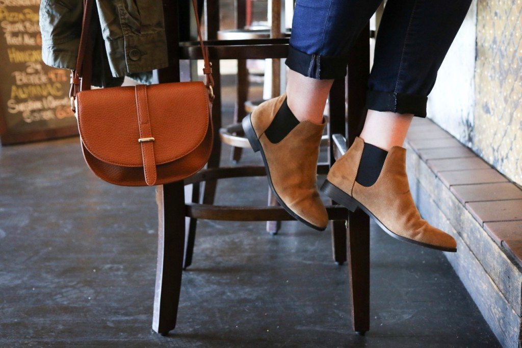 Nordstrom Crossbody Bag and Chelsea Ankle Booties
